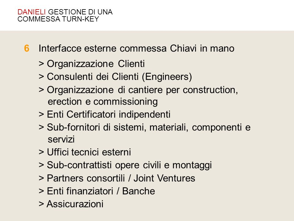 > Organizzazione Clienti > Consulenti dei Clienti (Engineers) > Organizzazione di cantiere per construction, erection e commissioning > Enti Certifica