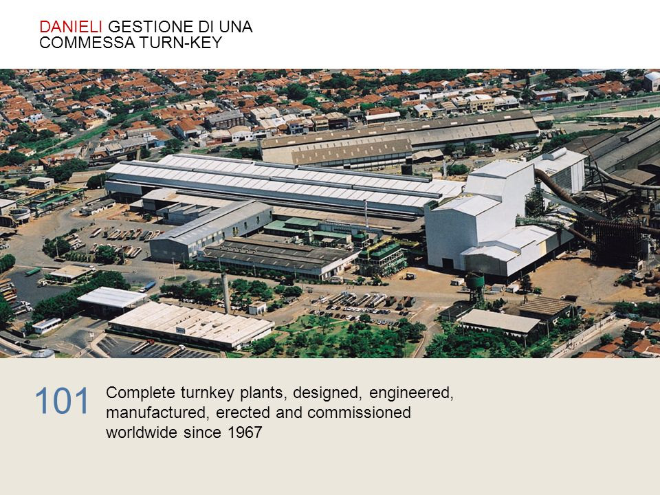 Complete turnkey plants, designed, engineered, manufactured, erected and commissioned worldwide since 1967 101 DANIELI GESTIONE DI UNA COMMESSA TURN-K