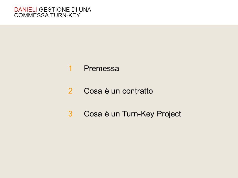 Premessa 2 1 3 Cosa è un contratto Cosa è un Turn-Key Project DANIELI GESTIONE DI UNA COMMESSA TURN-KEY