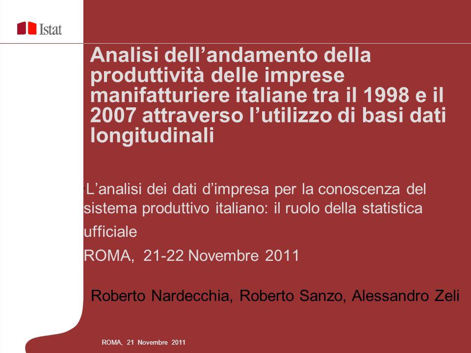 Roberto Nardecchia, Roberto Sanzo, Alessandro Zeli Analisi dellandamento della produttività delle imprese manifatturiere italiane tra il 1998 e il 200
