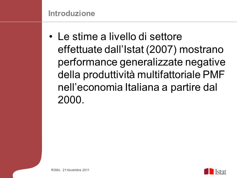 ROMA, 21 Novembre 2011 Le stime a livello di settore effettuate dallIstat (2007) mostrano performance generalizzate negative della produttività multif