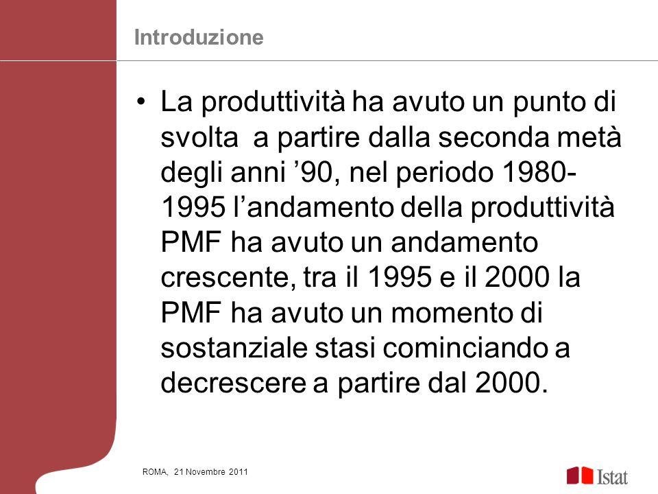 ROMA, 21 Novembre 2011 La produttività ha avuto un punto di svolta a partire dalla seconda metà degli anni 90, nel periodo 1980- 1995 landamento della