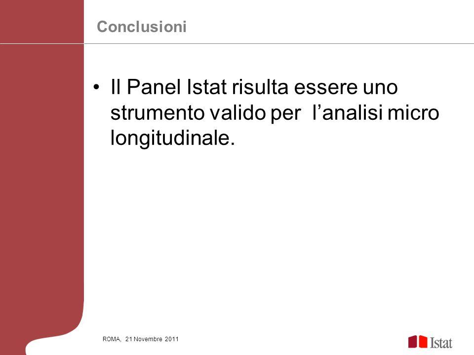 ROMA, 21 Novembre 2011 Il Panel Istat risulta essere uno strumento valido per lanalisi micro longitudinale. Conclusioni