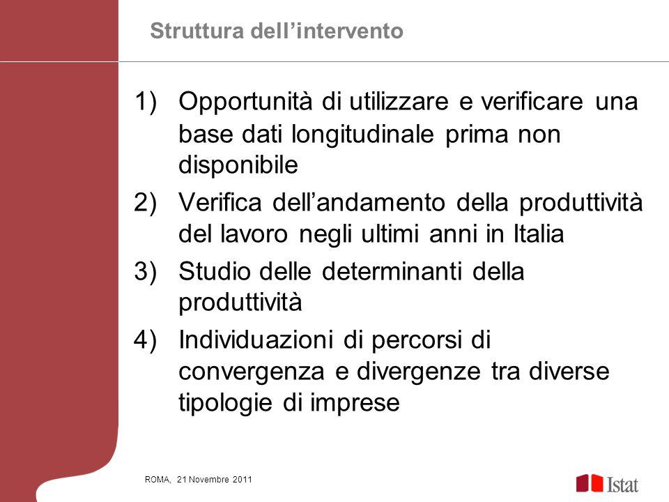 ROMA, 21 Novembre 2011 1)Opportunità di utilizzare e verificare una base dati longitudinale prima non disponibile 2)Verifica dellandamento della produ
