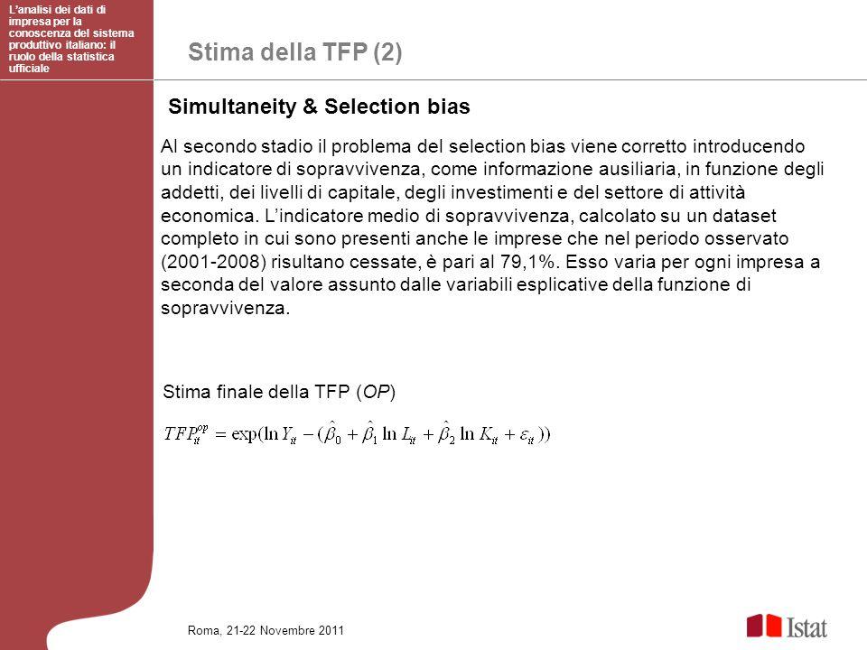 Stima della TFP (2) Lanalisi dei dati di impresa per la conoscenza del sistema produttivo italiano: il ruolo della statistica ufficiale Roma, 21-22 No