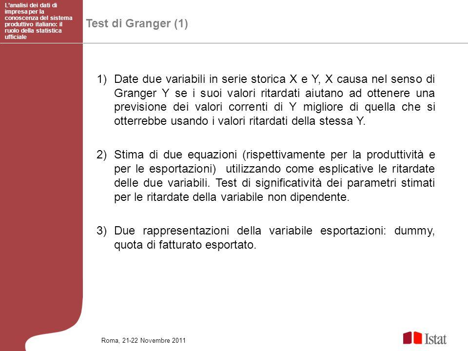 Test di Granger (1) 1)Date due variabili in serie storica X e Y, X causa nel senso di Granger Y se i suoi valori ritardati aiutano ad ottenere una pre