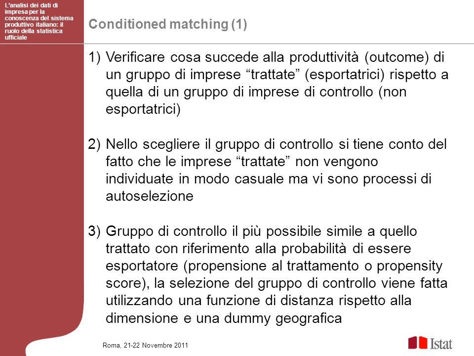 Conditioned matching (1) Lanalisi dei dati di impresa per la conoscenza del sistema produttivo italiano: il ruolo della statistica ufficiale Roma, 21-