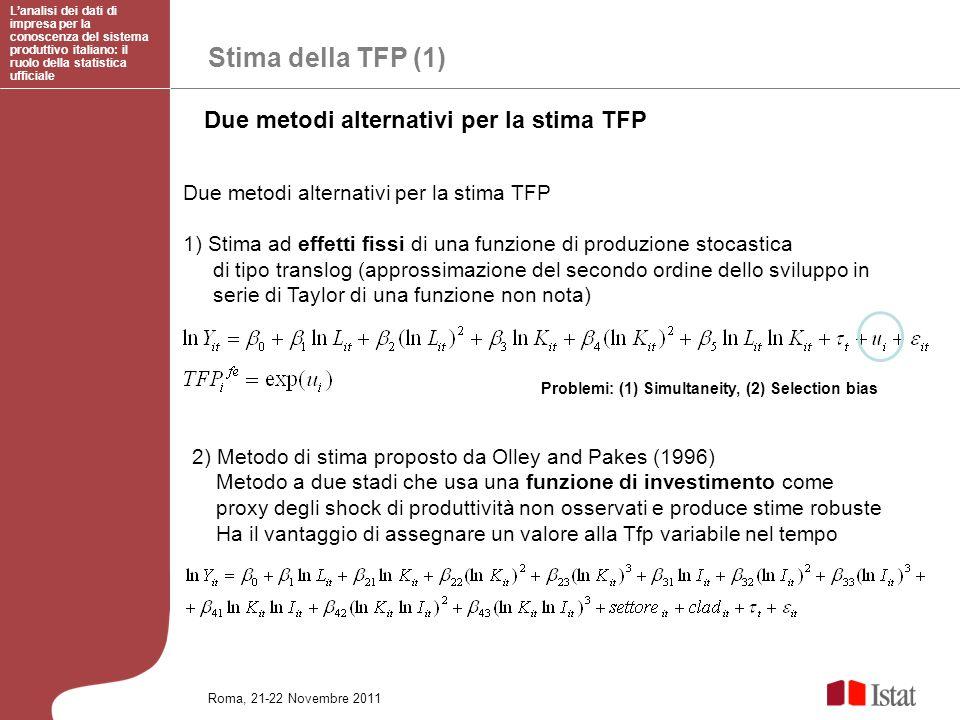 Stima della TFP (1) Lanalisi dei dati di impresa per la conoscenza del sistema produttivo italiano: il ruolo della statistica ufficiale Roma, 21-22 No