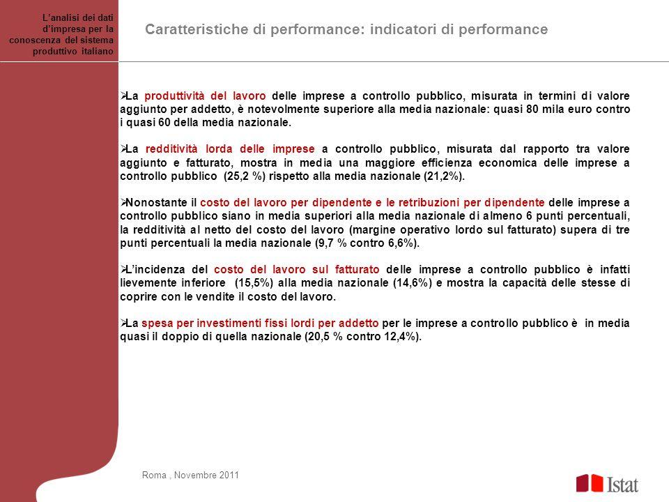 Caratteristiche di performance: indicatori di performance Lanalisi dei dati dimpresa per la conoscenza del sistema produttivo italiano La produttività del lavoro delle imprese a controllo pubblico, misurata in termini di valore aggiunto per addetto, è notevolmente superiore alla media nazionale: quasi 80 mila euro contro i quasi 60 della media nazionale.