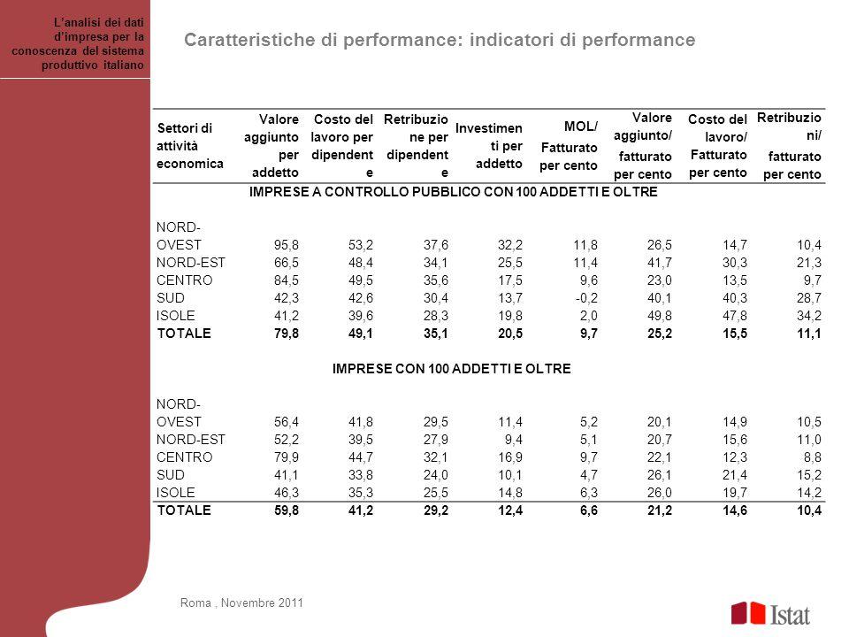 Caratteristiche di performance: indicatori di performance Lanalisi dei dati dimpresa per la conoscenza del sistema produttivo italiano Roma, Novembre