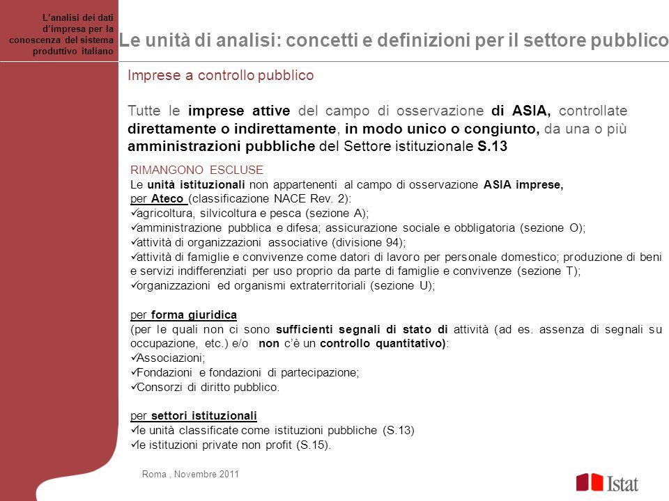 Le unità di analisi: concetti e definizioni per il settore pubblico Lanalisi dei dati dimpresa per la conoscenza del sistema produttivo italiano Roma,