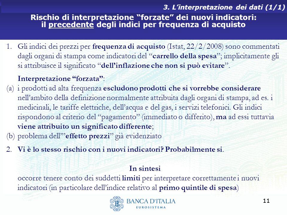 11 Rischio di interpretazione forzate dei nuovi indicatori: il precedente degli indici per frequenza di acquisto 3. Linterpretazione dei dati (1/1) 1.