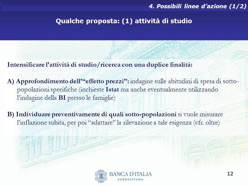 12 Qualche proposta: (1) attività di studio 4. Possibili linee dazione (1/2) Intensificare lattività di studio/ricerca con una duplice finalità: A) Ap