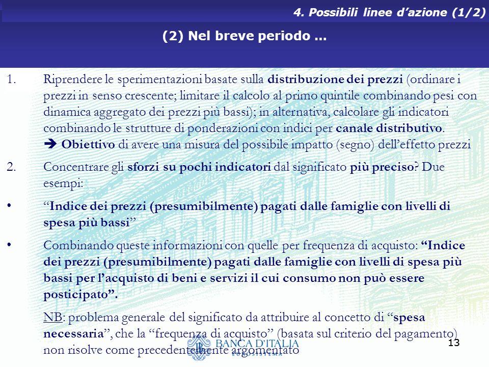 13 (2) Nel breve periodo … 4. Possibili linee dazione (1/2) 1.Riprendere le sperimentazioni basate sulla distribuzione dei prezzi (ordinare i prezzi i