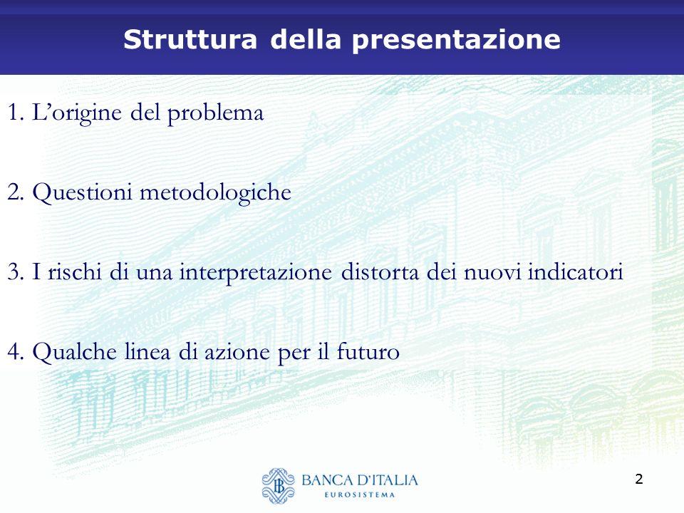 22 Struttura della presentazione 1. Lorigine del problema 2. Questioni metodologiche 3. I rischi di una interpretazione distorta dei nuovi indicatori