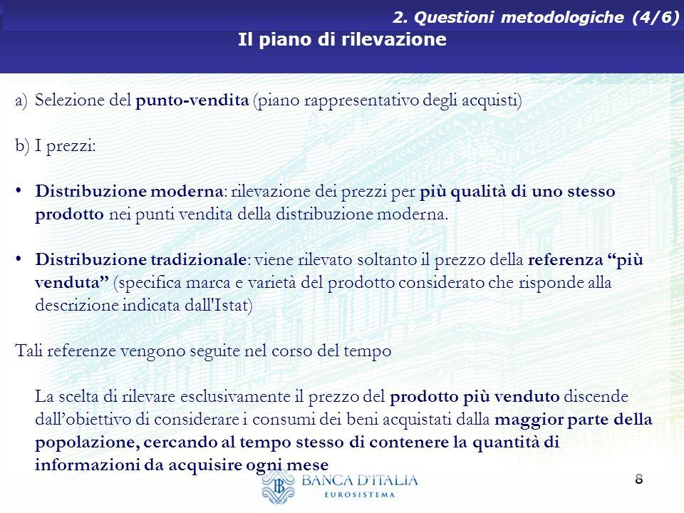88 Il piano di rilevazione 2. Questioni metodologiche (4/6) a)Selezione del punto-vendita (piano rappresentativo degli acquisti) b)I prezzi: Distribuz