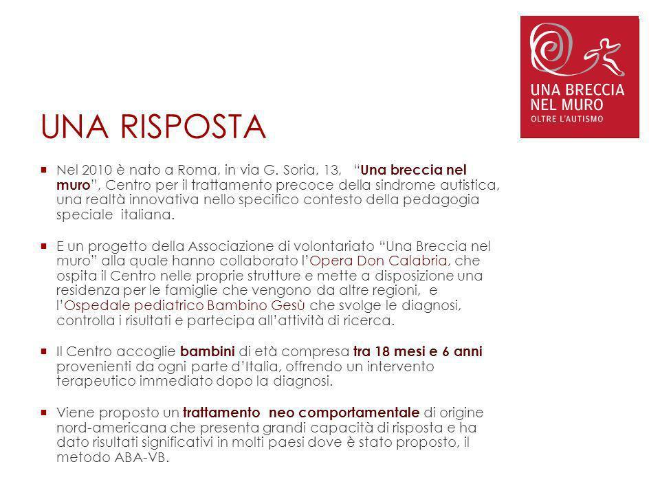 UNA RISPOSTA Nel 2010 è nato a Roma, in via G. Soria, 13, Una breccia nel muro, Centro per il trattamento precoce della sindrome autistica, una realtà