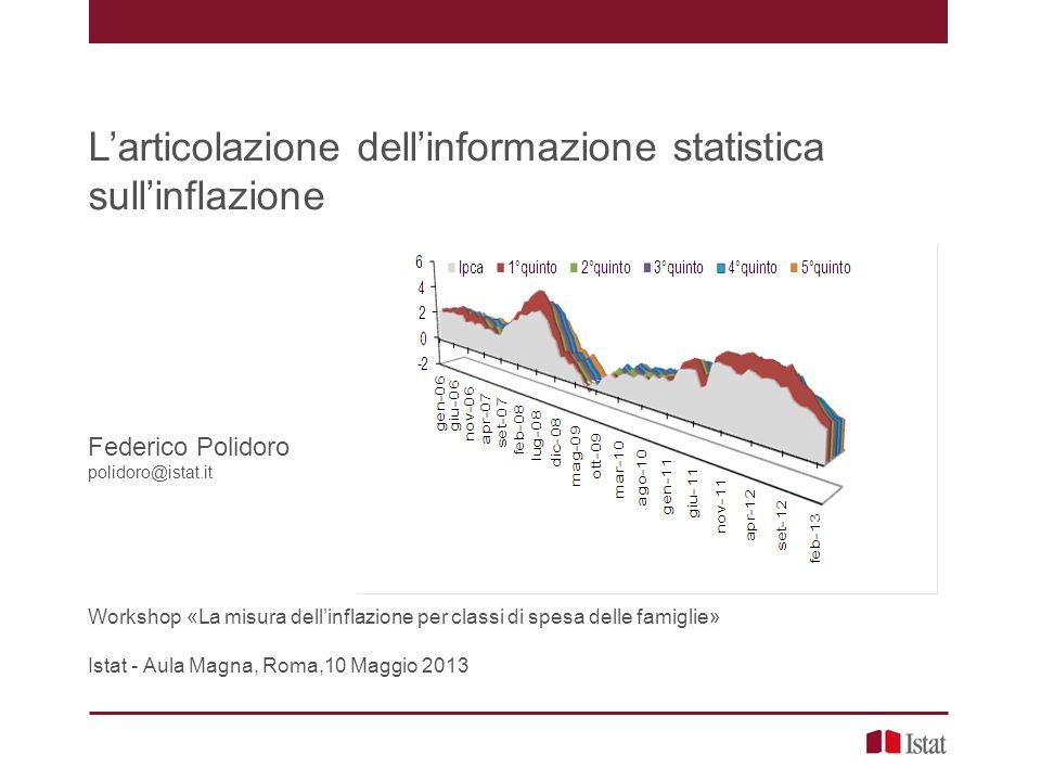 Larticolazione dellinformazione statistica sullinflazione Federico Polidoro polidoro@istat.it Workshop «La misura dellinflazione per classi di spesa delle famiglie» Istat - Aula Magna, Roma,10 Maggio 2013