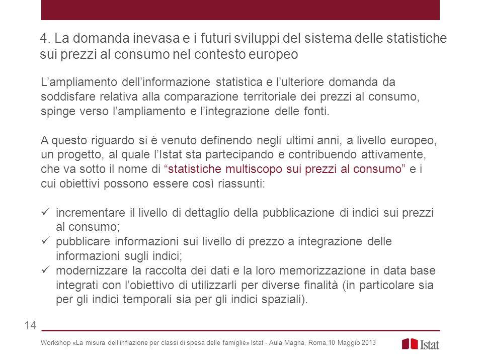 Lampliamento dellinformazione statistica e lulteriore domanda da soddisfare relativa alla comparazione territoriale dei prezzi al consumo, spinge verso lampliamento e lintegrazione delle fonti.