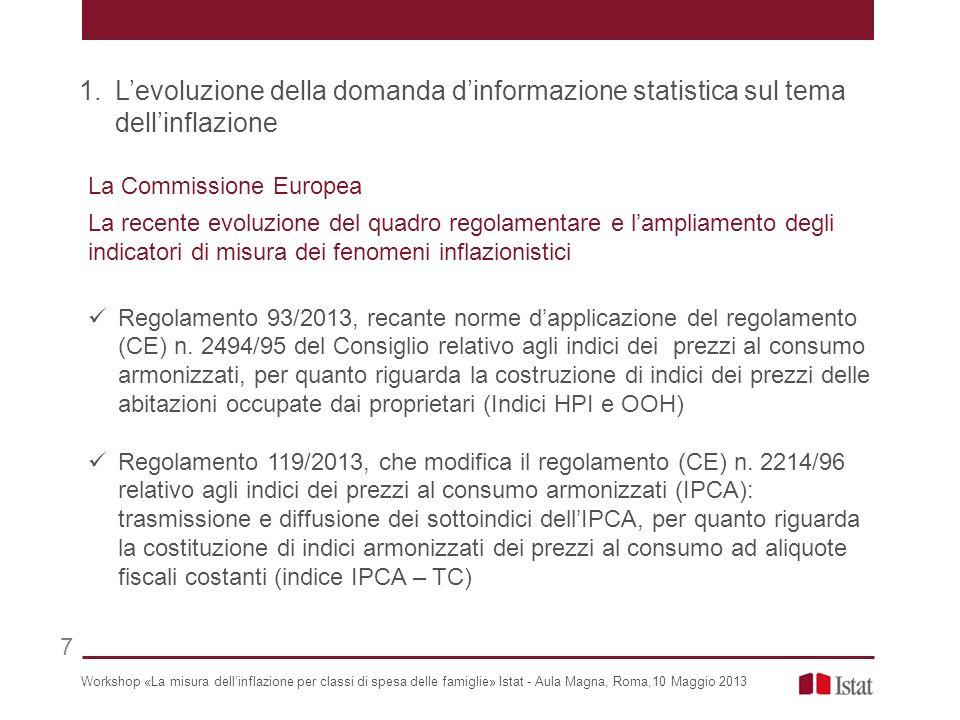La Commissione Europea La recente evoluzione del quadro regolamentare e lampliamento degli indicatori di misura dei fenomeni inflazionistici Regolamento 93/2013, recante norme dapplicazione del regolamento (CE) n.