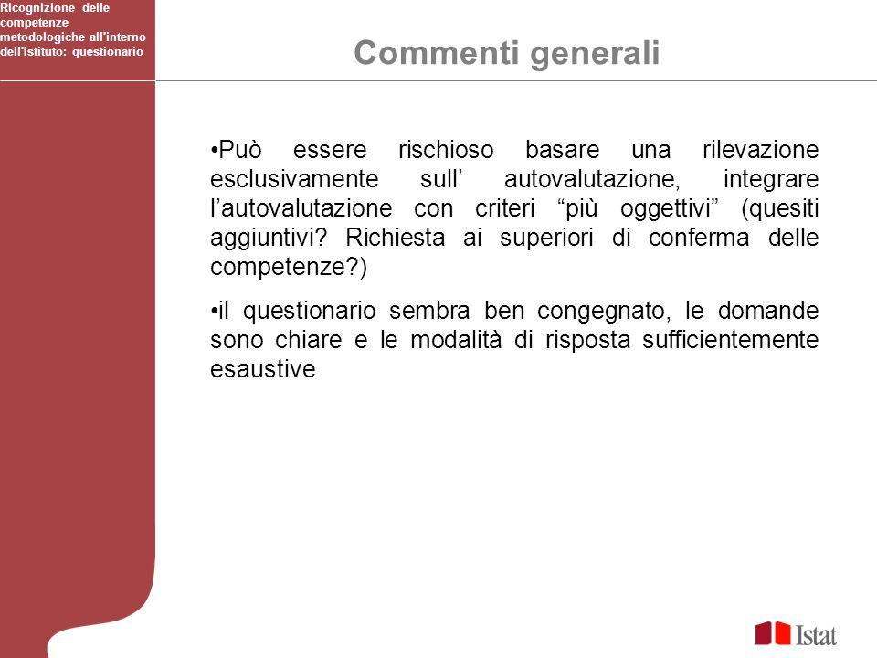 Commenti generali Ricognizione delle competenze metodologiche all interno dell Istituto: questionario Può essere rischioso basare una rilevazione esclusivamente sull autovalutazione, integrare lautovalutazione con criteri più oggettivi (quesiti aggiuntivi.