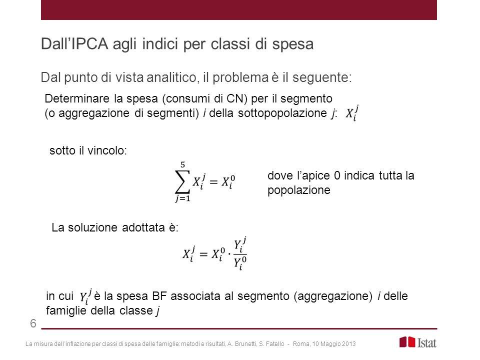 Dal punto di vista analitico, il problema è il seguente: La misura dellinflazione per classi di spesa delle famiglie: metodi e risultati, A. Brunetti,