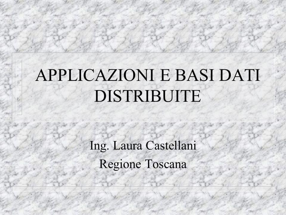 APPLICAZIONI E BASI DATI DISTRIBUITE Ing. Laura Castellani Regione Toscana