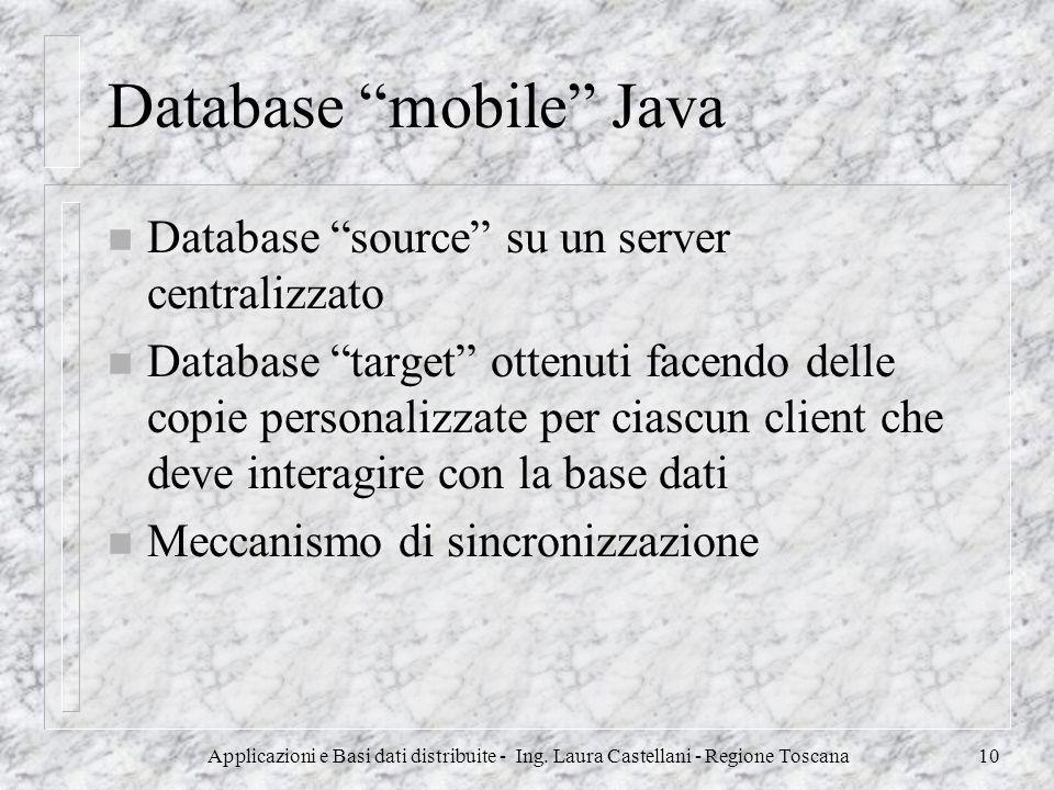 Applicazioni e Basi dati distribuite - Ing. Laura Castellani - Regione Toscana10 Database mobile Java n Database source su un server centralizzato n D