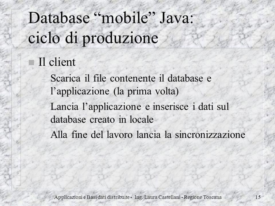 Applicazioni e Basi dati distribuite - Ing. Laura Castellani - Regione Toscana15 Database mobile Java: ciclo di produzione n Il client – Scarica il fi