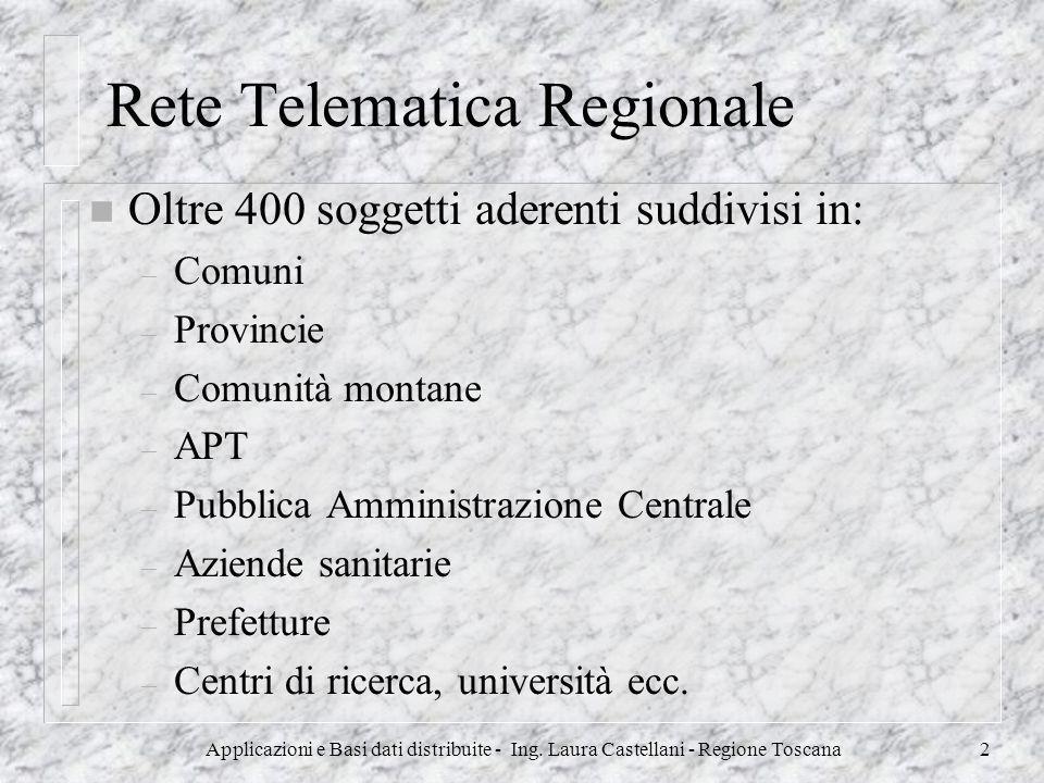 Applicazioni e Basi dati distribuite - Ing. Laura Castellani - Regione Toscana2 Rete Telematica Regionale n Oltre 400 soggetti aderenti suddivisi in: