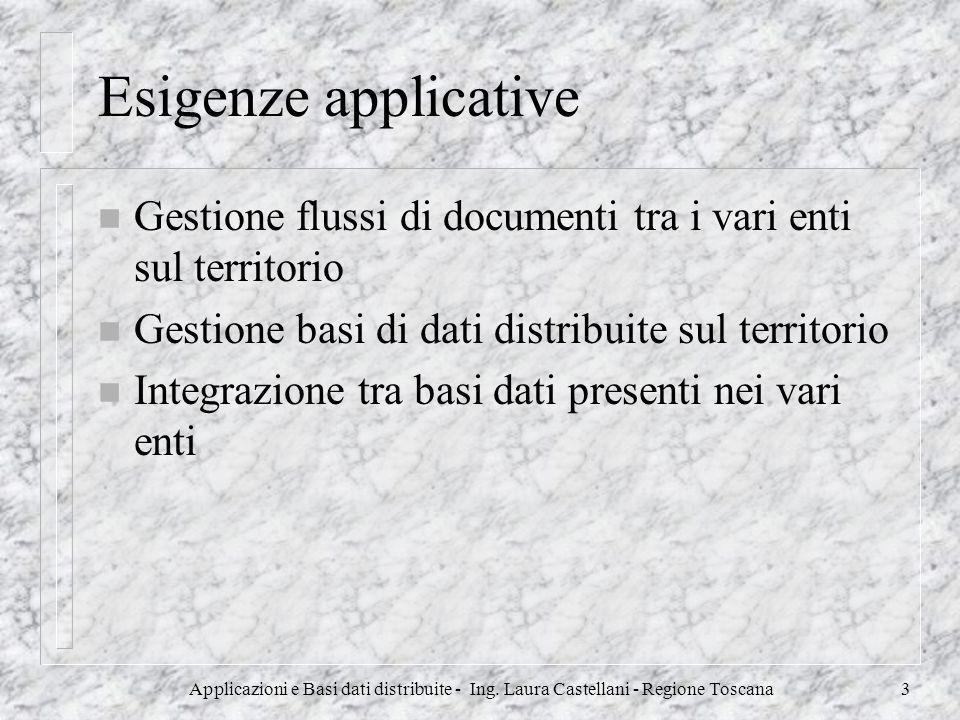 Applicazioni e Basi dati distribuite - Ing. Laura Castellani - Regione Toscana3 Esigenze applicative n Gestione flussi di documenti tra i vari enti su