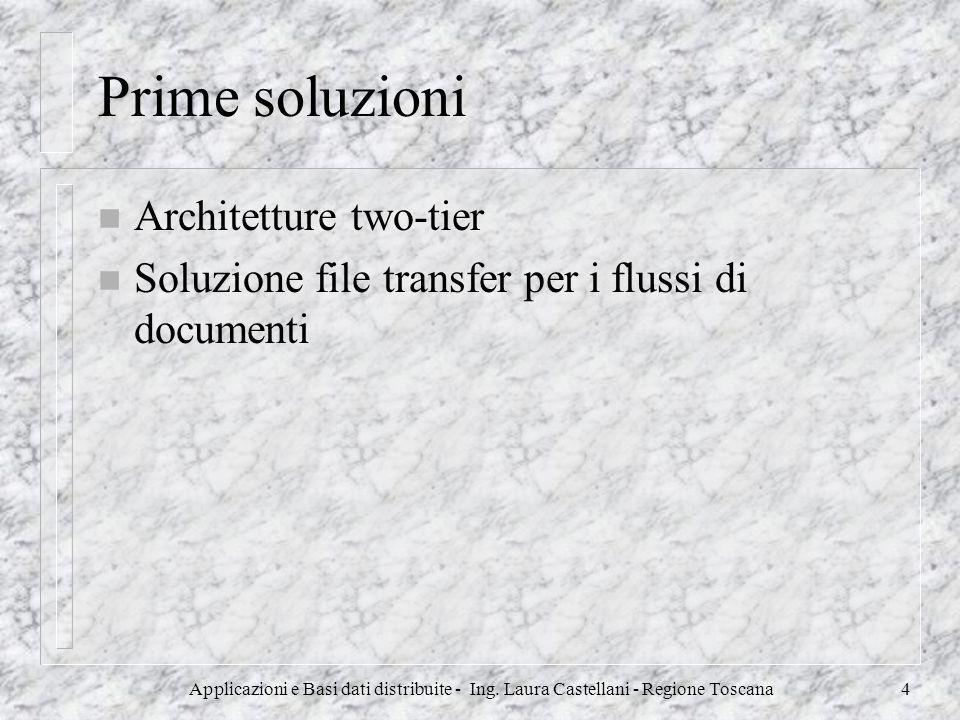 Applicazioni e Basi dati distribuite - Ing. Laura Castellani - Regione Toscana4 Prime soluzioni n Architetture two-tier n Soluzione file transfer per