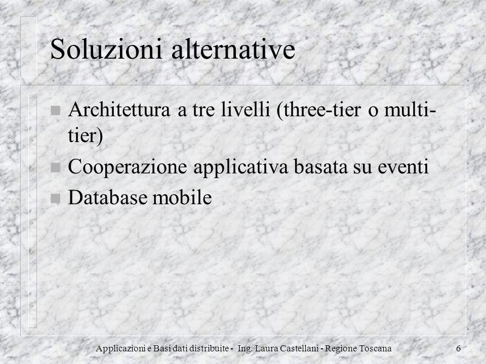 Applicazioni e Basi dati distribuite - Ing. Laura Castellani - Regione Toscana6 Soluzioni alternative n Architettura a tre livelli (three-tier o multi