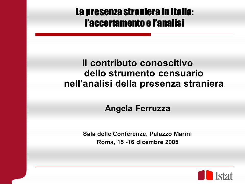 La presenza straniera in Italia: laccertamento e lanalisi Il contributo conoscitivo dello strumento censuario nellanalisi della presenza straniera Ang