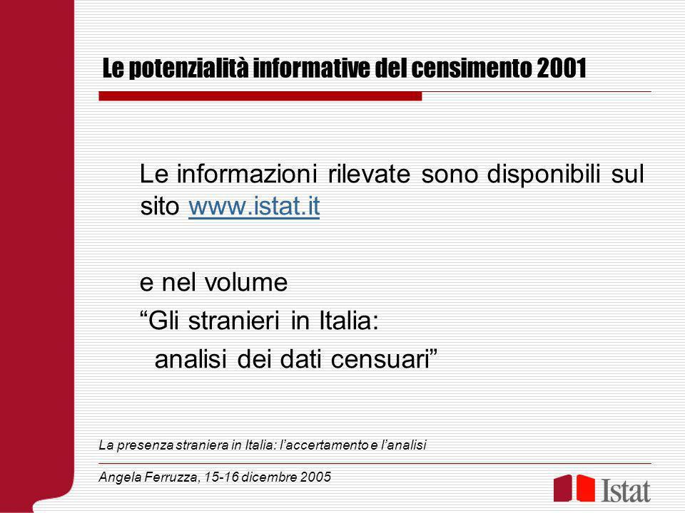 Le potenzialità informative del censimento 2001 Le informazioni rilevate sono disponibili sul sito www.istat.itwww.istat.it e nel volume Gli stranieri