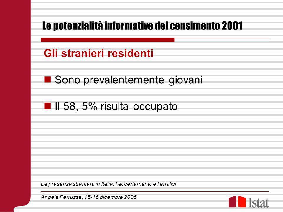 Le potenzialità informative del censimento 2001 Gli stranieri residenti Sono prevalentemente giovani Il 58, 5% risulta occupato La presenza straniera in Italia: laccertamento e lanalisi Angela Ferruzza, 15-16 dicembre 2005