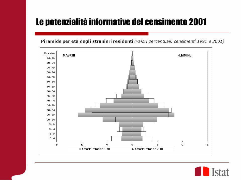 Le potenzialità informative del censimento 2001 Piramide per età degli stranieri residenti (valori percentuali, censimenti 1991 e 2001)