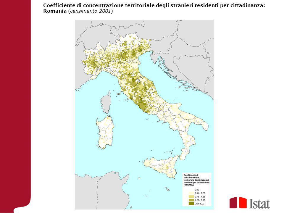 Coefficiente di concentrazione territoriale degli stranieri residenti per cittadinanza: Romania (censimento 2001)