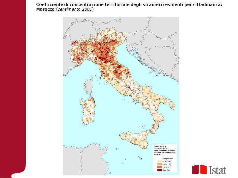 Coefficiente di concentrazione territoriale degli stranieri residenti per cittadinanza: Marocco (censimento 2001)