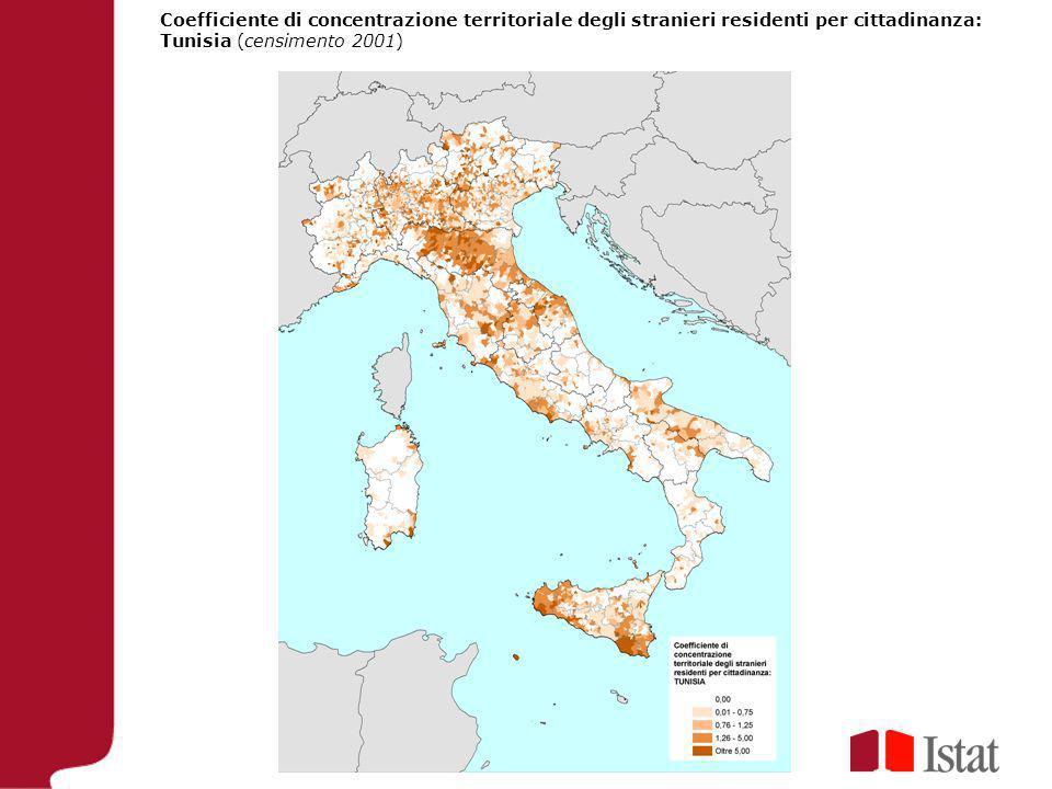 Coefficiente di concentrazione territoriale degli stranieri residenti per cittadinanza: Tunisia (censimento 2001)