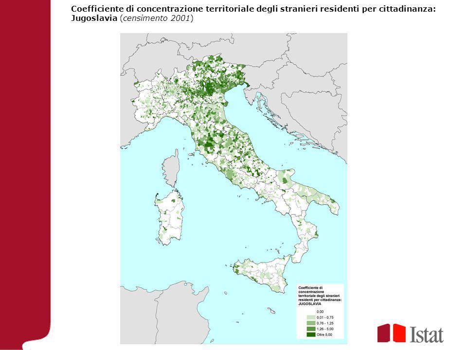 Coefficiente di concentrazione territoriale degli stranieri residenti per cittadinanza: Jugoslavia (censimento 2001)