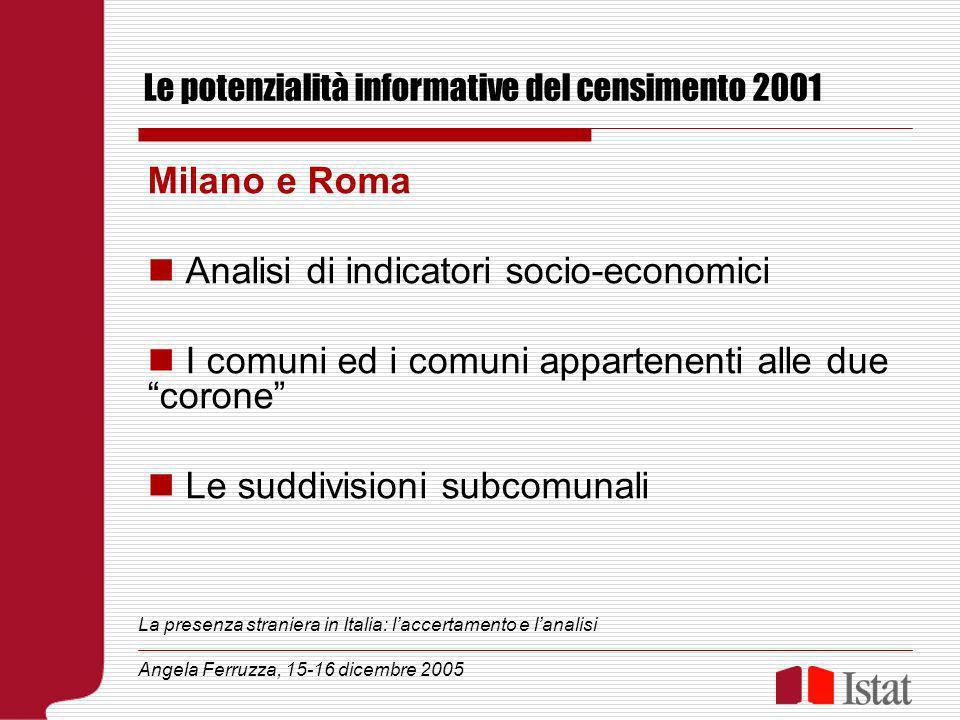 Le potenzialità informative del censimento 2001 Milano e Roma Analisi di indicatori socio-economici I comuni ed i comuni appartenenti alle due corone