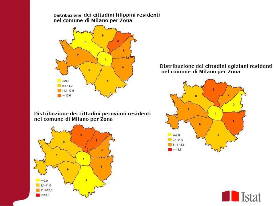 Distribuzione dei cittadini filippini residenti nel comune di Milano per Zona Distribuzione dei cittadini egiziani residenti nel comune di Milano per