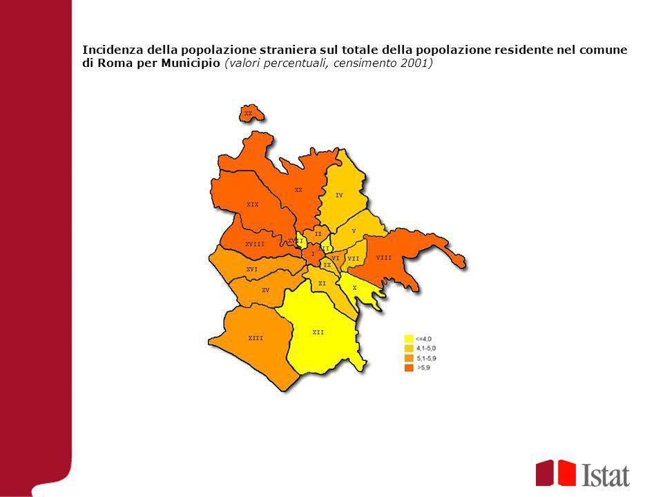 Incidenza della popolazione straniera sul totale della popolazione residente nel comune di Roma per Municipio (valori percentuali, censimento 2001)