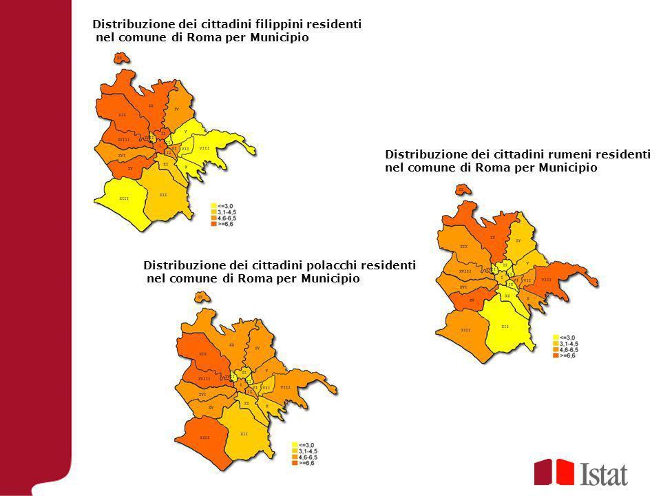 Distribuzione dei cittadini filippini residenti nel comune di Roma per Municipio Distribuzione dei cittadini rumeni residenti nel comune di Roma per M