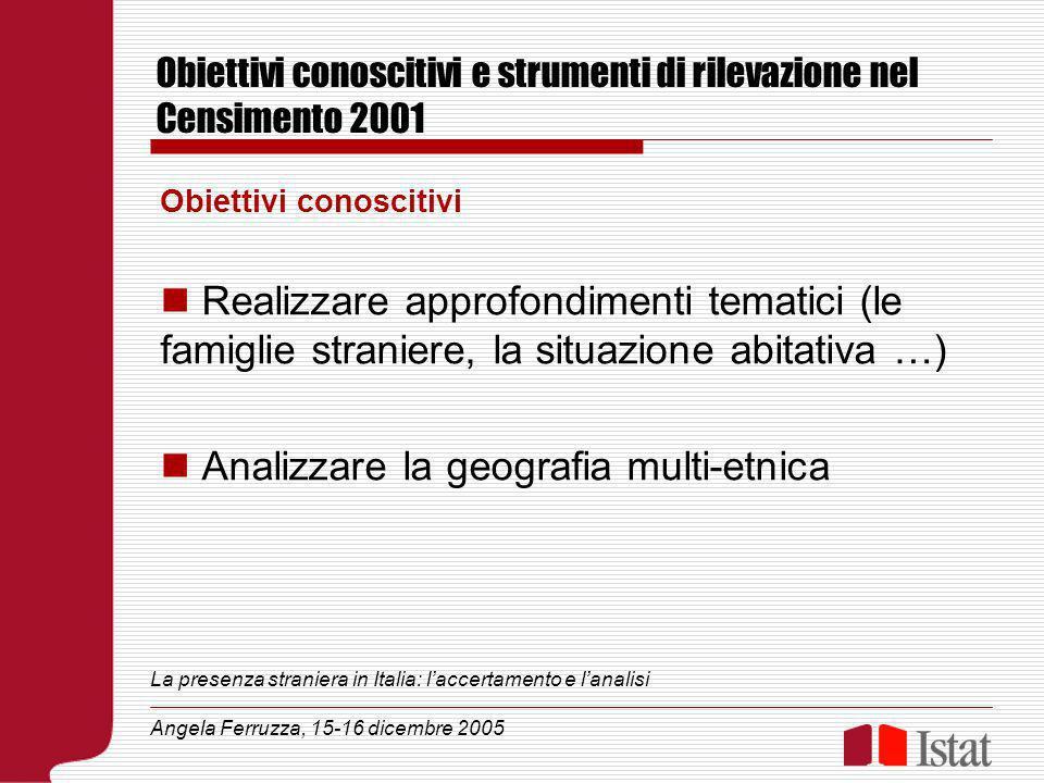 Obiettivi conoscitivi e strumenti di rilevazione nel Censimento 2001 Obiettivi conoscitivi Realizzare approfondimenti tematici (le famiglie straniere,