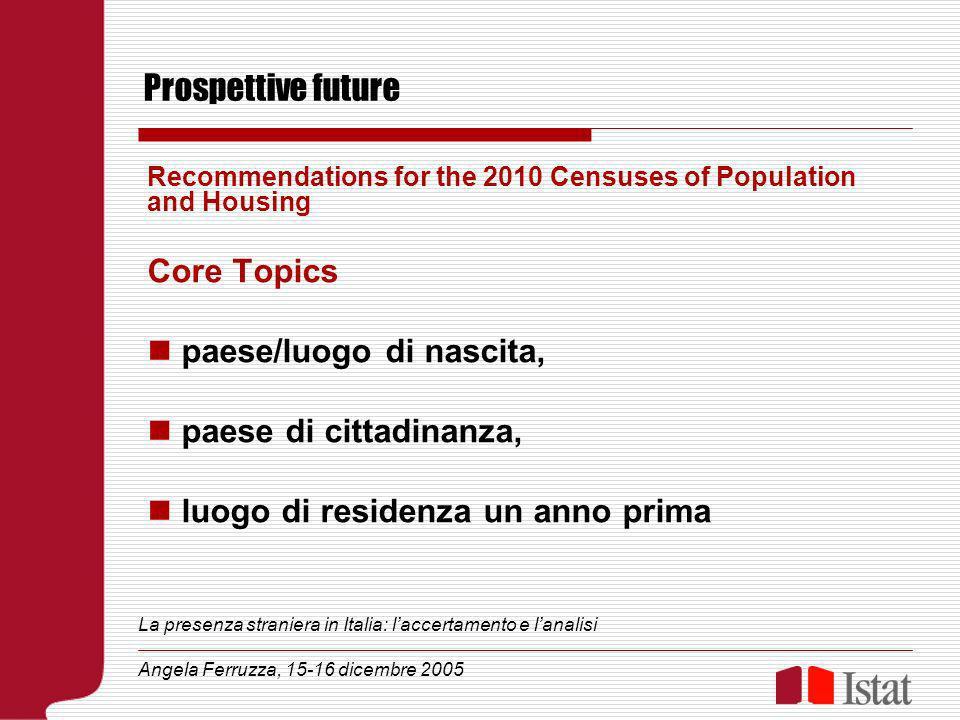 Prospettive future Recommendations for the 2010 Censuses of Population and Housing Core Topics paese/luogo di nascita, paese di cittadinanza, luogo di