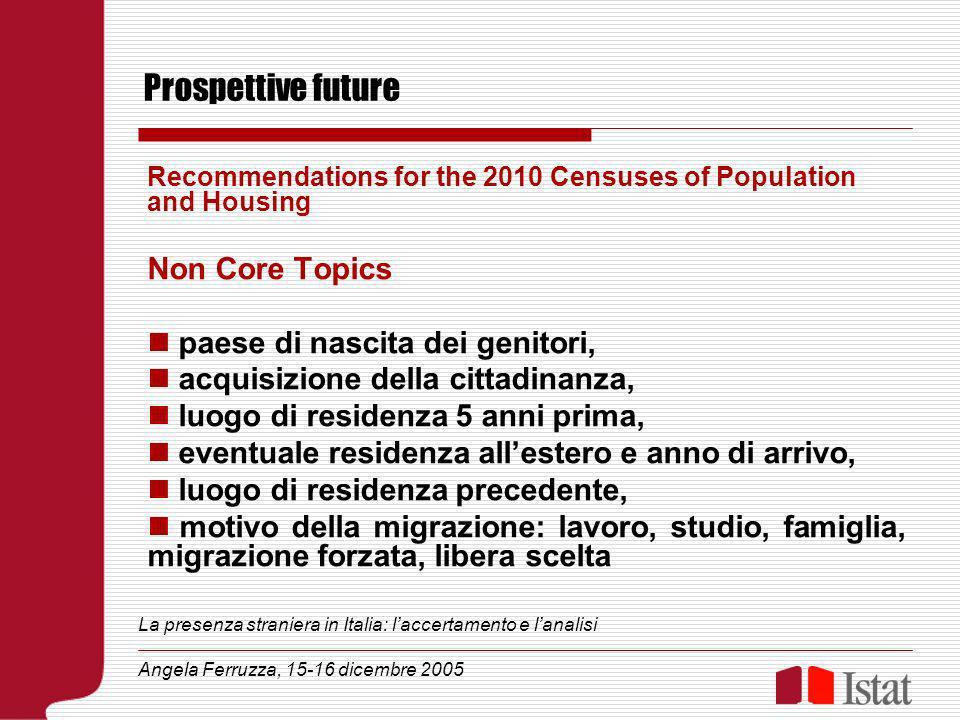 Prospettive future Recommendations for the 2010 Censuses of Population and Housing Non Core Topics paese di nascita dei genitori, acquisizione della c