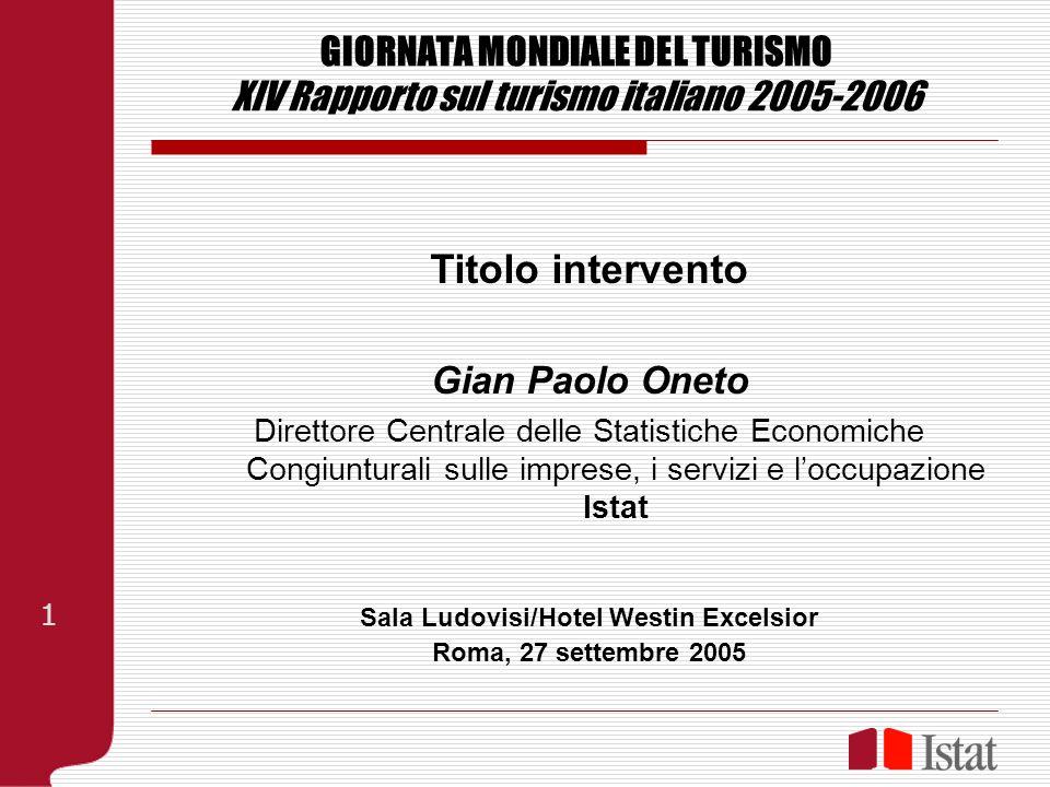 GIORNATA MONDIALE DEL TURISMO XIV Rapporto sul turismo italiano 2005-2006 Titolo intervento Gian Paolo Oneto Direttore Centrale delle Statistiche Econ