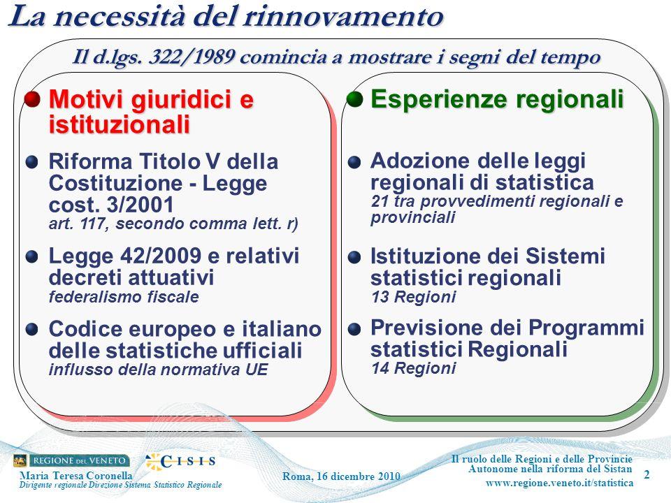 2 Il ruolo delle Regioni e delle Provincie Autonome nella riforma del Sistan www.regione.veneto.it/statistica Roma, 16 dicembre 2010 La necessità del